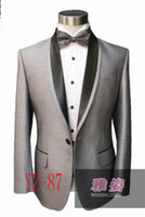 Wholesale Grey Silk Tuxedo - Free shipping Design Silk & polyester Tuxedos Wedding Groomsman Bridegroom Suits bright Grey suit