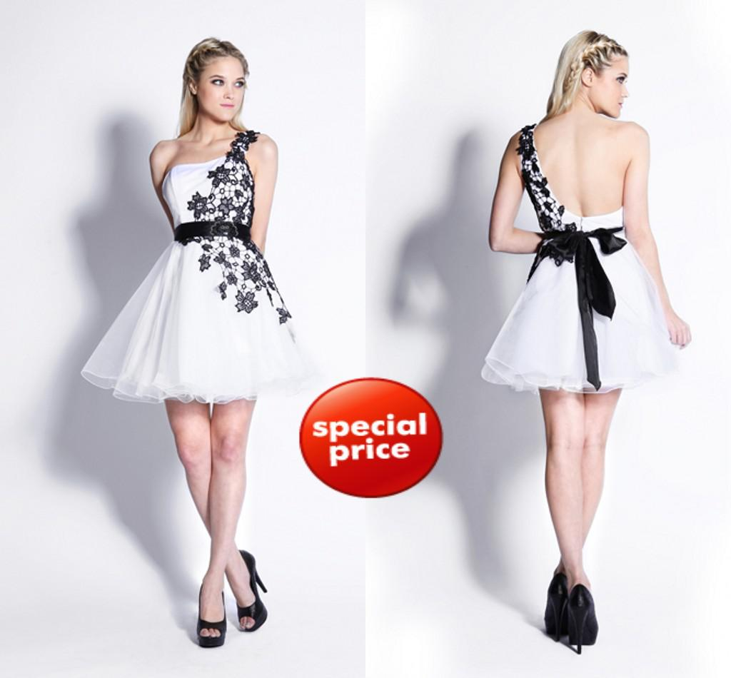 2012 Prom Dresses White Amp Black Floral Embroidered Tulle One