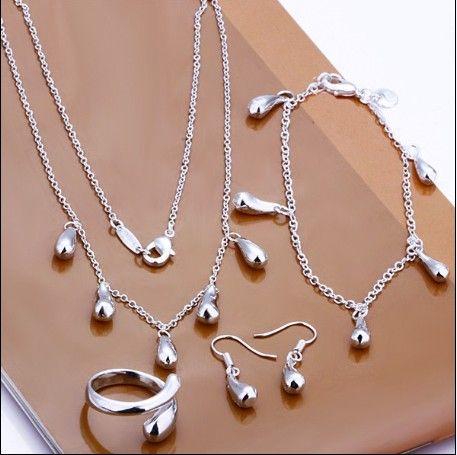 Plated 925 Sterling Zilveren Sieraden Set Water Drop Hanger Ketting Oorbellen Armbanden Ringen voor Woman Gratis verzending