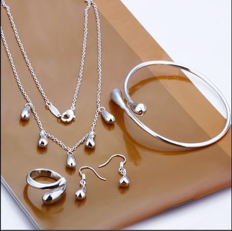 Geplateerd 925 Sterling Zilveren Sieraden Set Drop Oorbellen Ringen Kettingen Charme Armband Combinatie