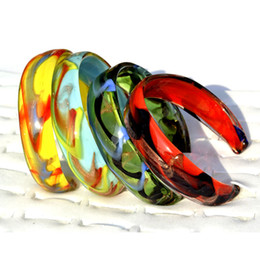 Argentina Fashion Lot Jewelry 10 unids lámina de oro hawaiana italiano hecho a mano de cristal de murano dama pulseras brazalete brazalete terminado abierto Suministro