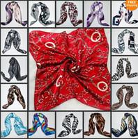 Wholesale Tie Kerchief - NEW Paris fashion womens ladies scarves scarf Silk Scarf kerchief mix colours 50pcs lot