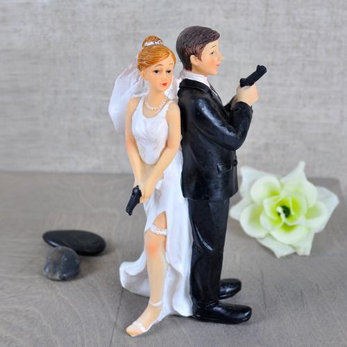 2017 Secret Agents Bride Groom Wedding Cake Topper Resin Crafts