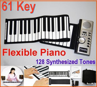 electrónica externa al por mayor-Digital 61 Key Piano - Piano Flexible portátil Roll Up 128 Sintetizador diferente con Soft Keys Altavoz externo Piano electrónico