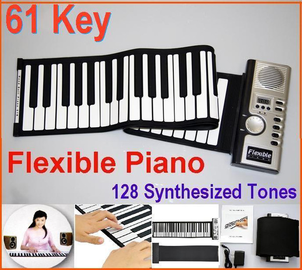 top popular Digital 61 Key Piano - Portable Flexible Piano Roll Up 128 Different Synthesizer with Soft Keys External Speaker Electronic piano 2021
