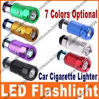 Wholesale Mini Rechargeable Lighter - 600pcs H43 Mini Car Cigarette Lighter LED Flashlight Torch Rechargeable 7 Colors