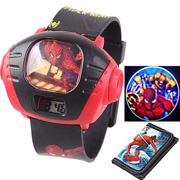 Spiderman style kids 39 projector digital wrist watch with purse wallet gift for luxury watches for Spiderman watches