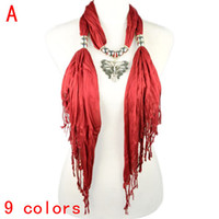 Wholesale Women Scarf Metal Pendant - Hot sell fashion jewelry pendant scarf with metal butterfly Charm Jewelry scarves for women ,9colors,NL-1829