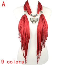 Wholesale Metal Charm Scarf - Hot sell fashion jewelry pendant scarf with metal butterfly Charm Jewelry scarves for women ,9colors,NL-1829