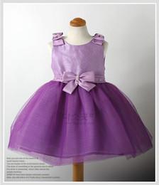 Wholesale Satin Vest Wholesale - Girls princess dress baby purple dress party dresses pageant dresses bow vest skirts