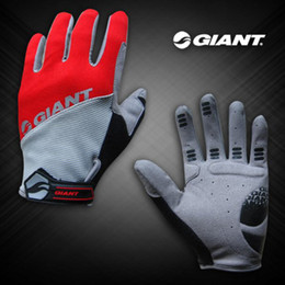 Wholesale Giant Cycle Gloves - Cycling FULL Finger GIANT Red Gloves Bike Bicycle Glove Size M - XL