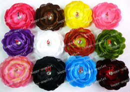 Wholesale Ruffle Ranunculus Flowers - Girl Rhinestones 4 inch Ruffle Ranunculus flowers with clip Peach mix color flower Hair bow 24pcs