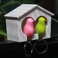 Wholesale Love Birds Sparrow Key Ring - Love Nest Sparrow Key Ring Whistle Key Rings Keyholder Bird House Key Pendant Keychain