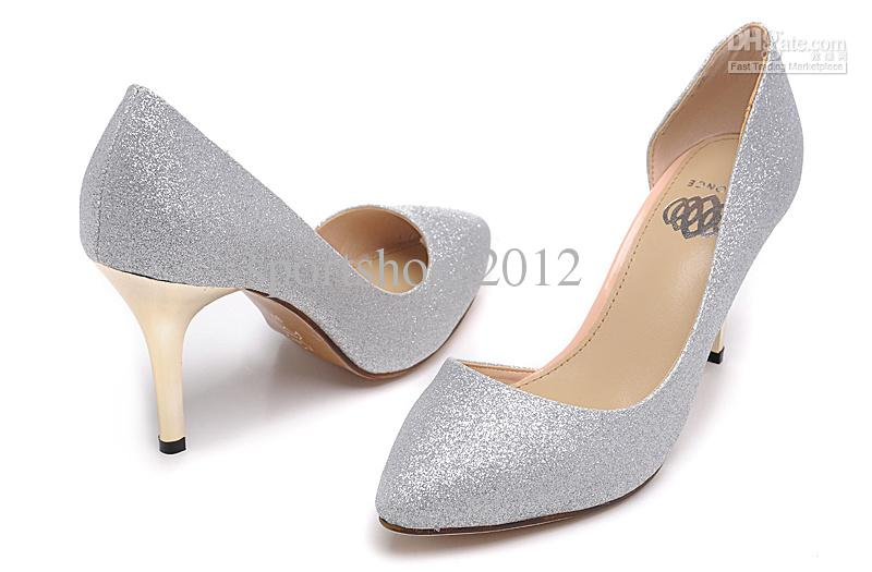 2013 New Brand Women's High Heel Dress Shoes Wedding Shoes Silver ...
