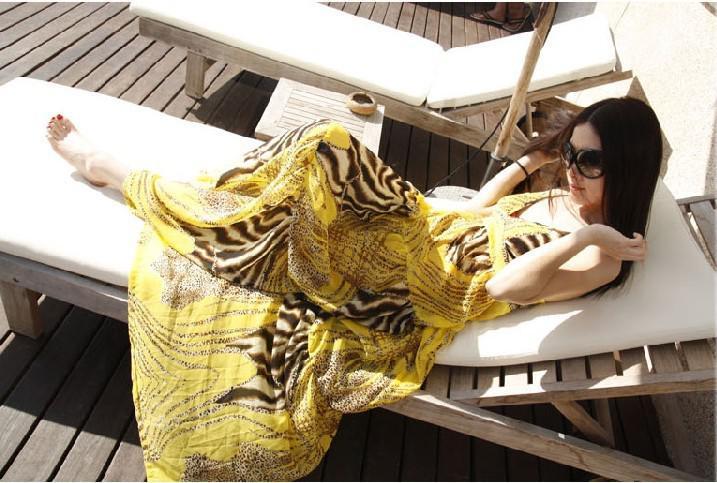 2017 송료 무료 여름 휴가 드레스 맥시 롱 보헤미아 드레스 레오파드 3 색 비치 휴가 드레스
