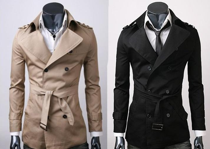 2016 Mens Casual Double Breasted Trench Coat Slim Fit 1284sz Xs