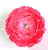 Wholesale Ruffle Ranunculus - Woman Rhinestones 4 inch Ruffle Ranunculus flowers with clip pink flower Hair bow 60 pcs