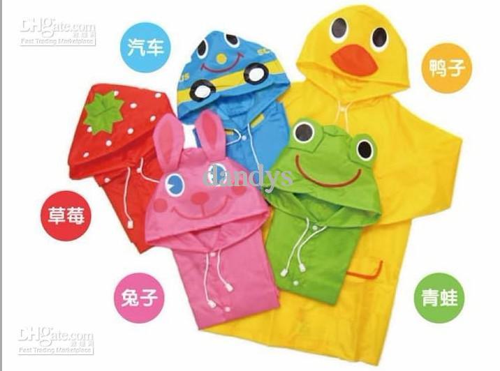 El poncho clásico del estilo de los niños, el animal lindo del muchacho y de la muchacha forma el impermeable, 6pcs / lot, dandys