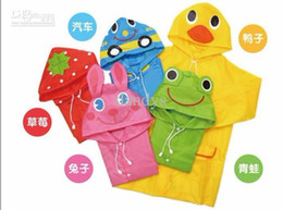 Wholesale Boy Raincoats - Children Classic style poncho, boy and girl cute animal shapes raincoat, 6pcs lot, dandys