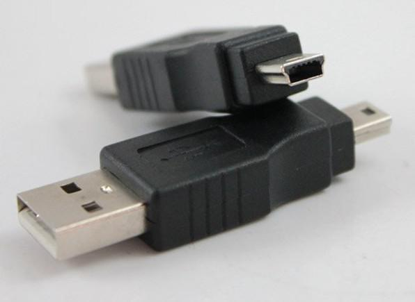 Ücretsiz Shippping USB A Mini B Adaptörü Dönüştürücü 5-Pin Veri Kablosu Erkek / M MP3 PDA DC Siyah 100 Adet / grup