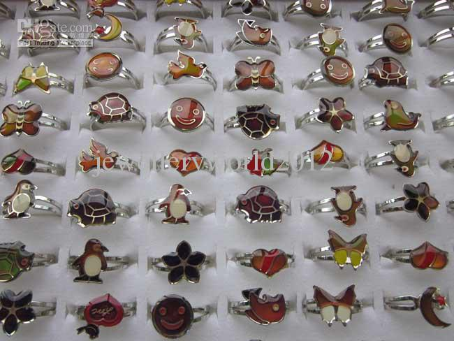 혼합 만화 동물 100 개 기분 반지 나비, 미소, 심장, 평화 비둘기 패션 반지 보석 Fr