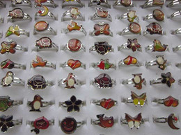 Wholesale dive rings wholesale - mixed Cartoon animals 100pcs mood rings butterfly,smile,heart,peace dove fashion rings jewelry Fr