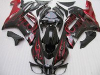 Wholesale Zx6r Kawasaki 636 - Red flame body for 2007 2008 KAWASAKI Ninja ZX6R ZX-6R 636 ninja 07-08 zx 6r 07 08 Full fairing kit