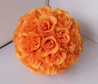ingrosso bouquet di fiori artificiali arancione-Bocciolo di seta artificiale rosa palla fiore color arancio diametro 25 cm