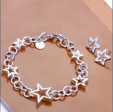 100% Nieuwe Hoge Kwaliteit 925 Sterling Silver Star Armband Oorbellen Charm Sieraden Set Gratis Verzending /