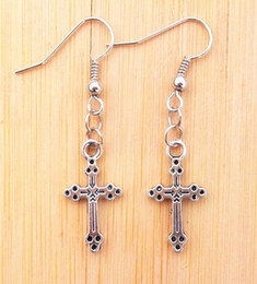 Wholesale Small Silver Cross Sterling - Vintage Tibetan Silver Small Skull Cross Jesus Ax Pendant Earring Stylish Mix order Novelty xmas gifts 30pair