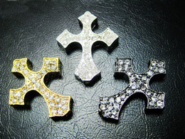 Wholesale Side Ways Metal Crosses - Free Shipping Mixed Plated Side Ways White Crystal Rhinestones Thick Cross Bracelet Connector Beads