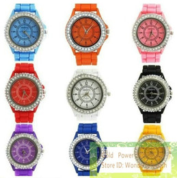 Wholesale Diamond Face Silicone Watch - 50pcs Fashion Geneva Crystal Face Diamond Jelly Silicone Watch Unisex Men Women's Quartz Watches