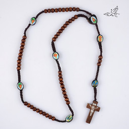 $enCountryForm.capitalKeyWord Canada - Deep Brown Wooden Rosary Beads Necklace Jesus Cross Pendant Necklaces Wood Religious Jewelry