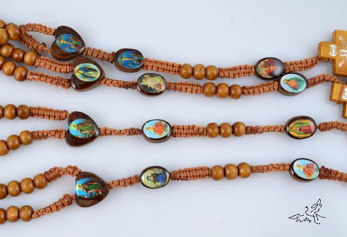 12 unid Marrón Claro Santo Icono Rosario de Madera Collar de Cuentas Jesús Cruz Colgante de Collares Joyería de Madera