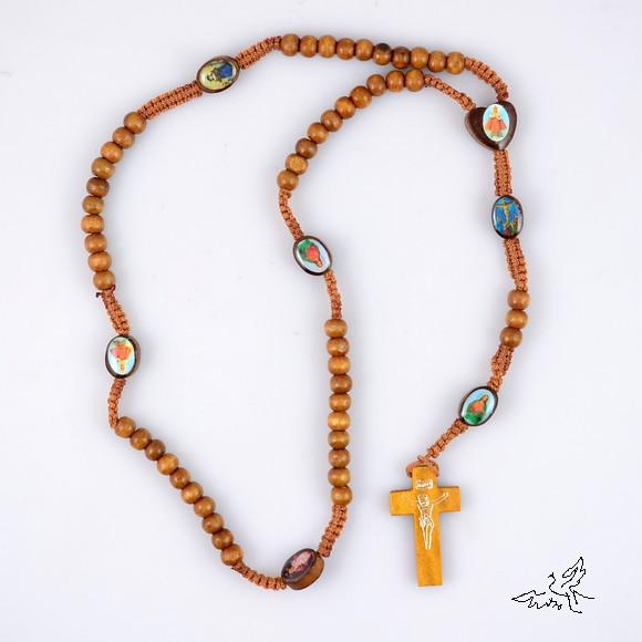 12pc Light Brown Holy Icon Wooden Rosary Beads Necklace Jesus Cross Pendant Necklaces Wood Jewelry