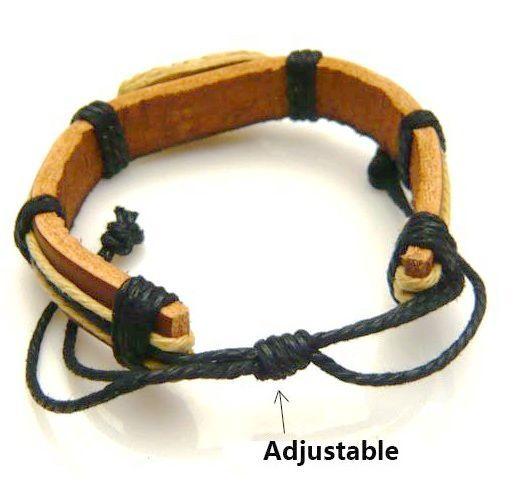 18pcs / lot leather + pulseras de cuerda pulseras de cuero 12 signos de estrella Pulseras de hueso bovino