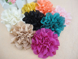 """Wholesale Wholesale Fabric Brooches - Trial order 3"""" Eyelet Flowers Hair Clip Brooch Eyelet Fabric Flowers Chiffon Shabby Flower Clip 50PCS LOT QueenBaby"""