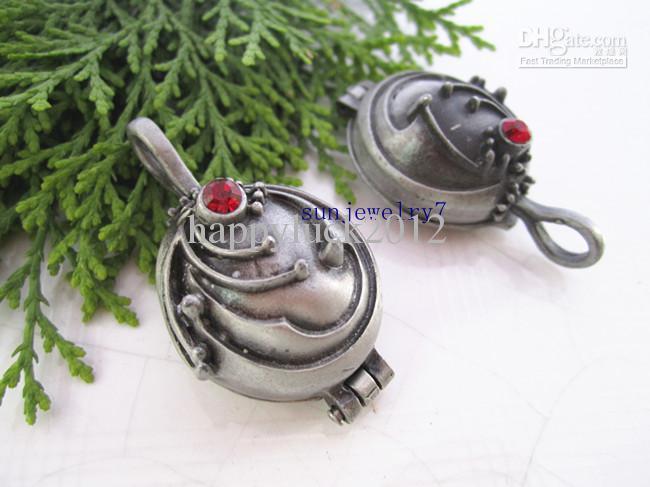 Hot Sell 23mmx42mm Vampyr Box Antik Silver Grå med Crystal Locket Charms Pendant 10st / Lot