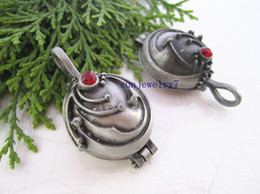 Vampire Locket Canada - Hot Sell 23mmx42mm vampire Box Antique Silver Grey with Crystal Locket charms pendant 10pcs lot