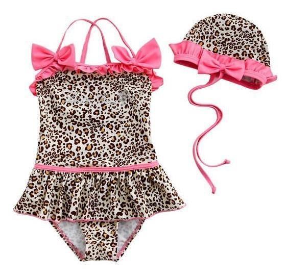 HOT Children Sexy Leopard Print Swimwear Pink Bow Baby Girls Swimsuits kid's bathing suits