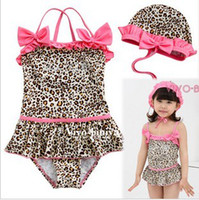 Wholesale Girls Leopard Print Bathing Suits - 5pcs lot HOT Children Sexy Leopard Print Swimwear Pink Bow Baby Girls Swimsuits kid's bathing suits