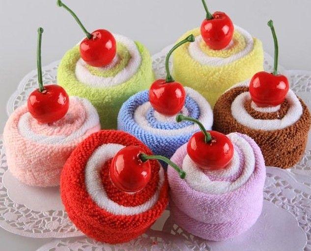 Cherry Swiss Roll Cake Gift Towel Wedding Return 7 Color 35g Opp Bag 50pcs Lot