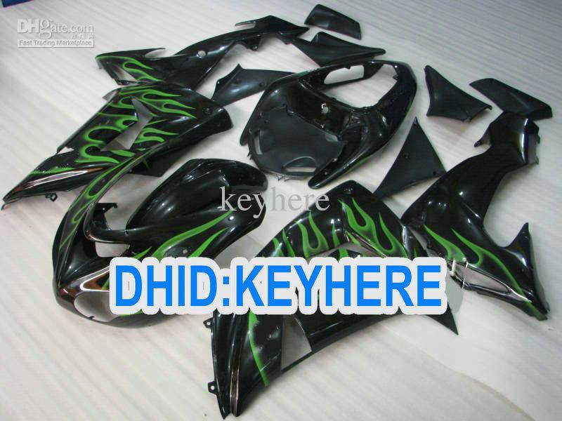 KN45 Green flame Fairing kit for kawasaki ninja ZX-10 2006 2007 ZX 10R 06-07 ZX10R 06 07 fairings