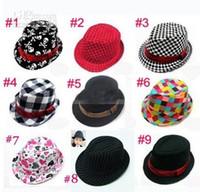 chapéu do fedora do partido da criança venda por atacado-Tampas dos miúdos dos miúdos do bebê acessórios chapéu chapéus grils chapéus de festa do chapéu fedora, 10 pçs / lote, dandys