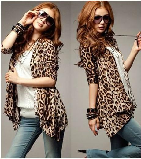 Korean Women Sexy Leopard Cardigan Long Sleeve Panther Coat Jacket ...