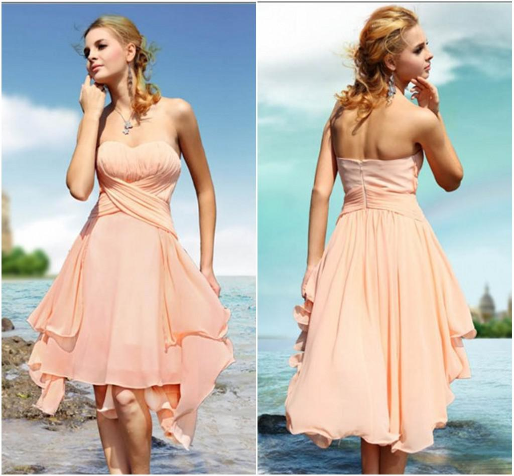 2014 summer beach style sexy simple strapless ruffle knee length a 2014 summer beach style sexy simple strapless ruffle knee length a line chiffon bridesmaid dresses watters and watters bridesmaid dresses watters bridesmaid ombrellifo Images