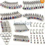 Wholesale Navel Piercing Crystal - 100X Body Jewelry Piercings Stainless Steel Rhinestone Belly Rings Tongue Lip Piercing Mix Lots [BB19-BB24 BB26-BB29 M*100]