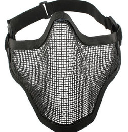 Wholesale Steel Mesh Mask - 5pcs Tactical TMC Metal Steel Wire Half Face Mesh Airsoft Mask Black free shipping
