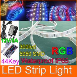 Wholesale Led Strips 25m Ip65 - 25m LED rope light Waterproof IP65 SMD 5050 RGB LED Flexible Strip light 300LED 44key + 12V 5A power