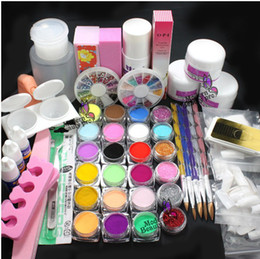 Wholesale Pro Acrylic Powder Nail Kit - Wholesale-Pro Full Acrylic Glitter Powder Glue French Nail Art 500 Tip Brush Kit Set #689